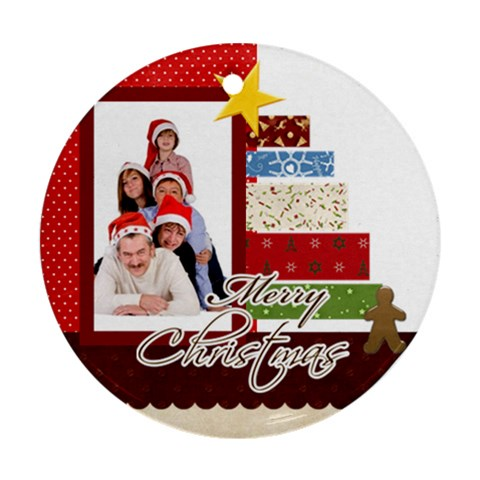 Christmas By Betty   Ornament (round)   Hf988fc2gk91   Www Artscow Com Front