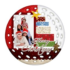 Merry Christmas By Betty   Round Filigree Ornament (two Sides)   Xx6eexi1yz25   Www Artscow Com Front
