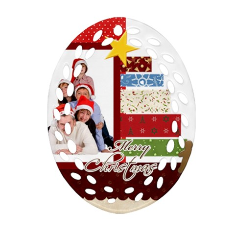 Merry Christmas By Betty   Ornament (oval Filigree)   N5mzkfkfbzfa   Www Artscow Com Front