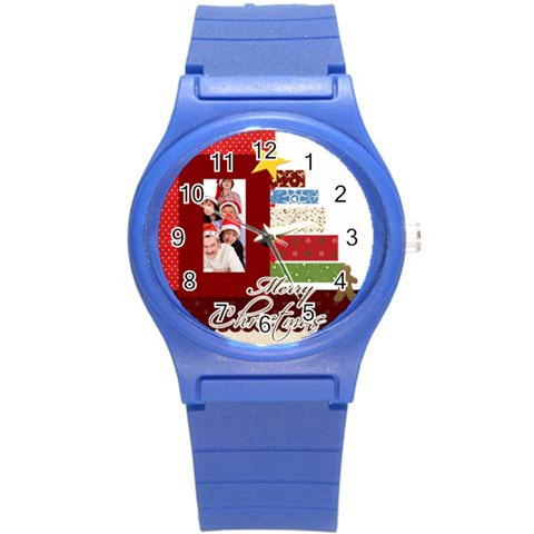 Merry Christmas By Betty   Round Plastic Sport Watch (s)   Diacv4m4kcxg   Www Artscow Com Front