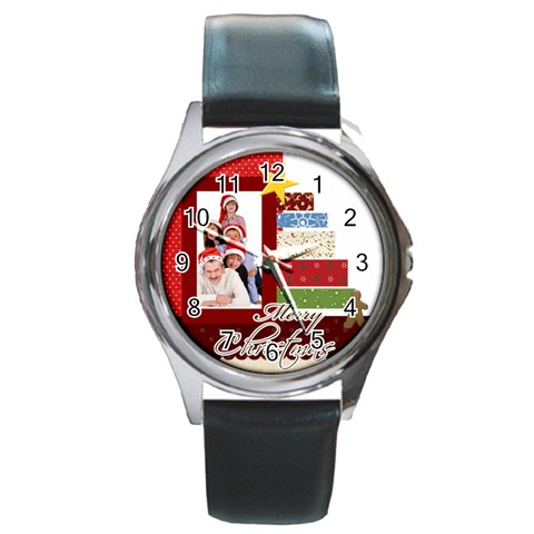 Merry Christmas By Betty   Round Metal Watch   7bxvkcu0d3ol   Www Artscow Com Front
