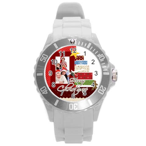 Merry Christmas By Betty   Round Plastic Sport Watch (l)   6i2u1p4p7kd9   Www Artscow Com Front