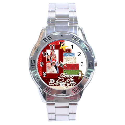 Merry Christmas By Betty   Stainless Steel Analogue Watch   K9cbo5de42lt   Www Artscow Com Front