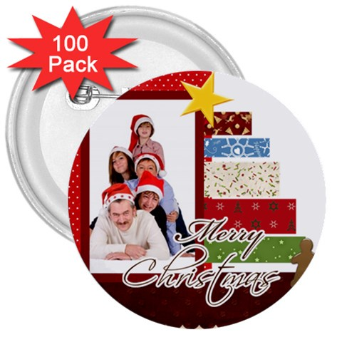 Merry Christmas By Betty   3  Button (100 Pack)   Mqw17sf1076k   Www Artscow Com Front
