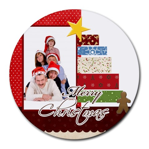 Merry Christmas By Betty   Round Mousepad   Wonu8jefxdla   Www Artscow Com Front