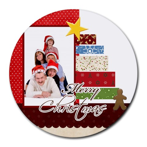 Merry Christmas By Betty   Collage Round Mousepad   Qtq52cdqa4in   Www Artscow Com 8 x8 Round Mousepad - 1