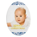 merry christmas, xmas, happy new year  - Oval Ornament (Two Sides)