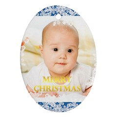 Merry Christmas, Xmas, Happy New Year  By Wood Johnson   Oval Ornament (two Sides)   O1cozs17dp74   Www Artscow Com Back