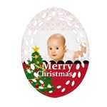 merry christmas, xmas, happy new year  - Oval Filigree Ornament (Two Sides)