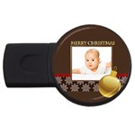 merry christmas, xmas, happy new year  - USB Flash Drive Round (1 GB)
