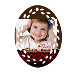 merry christmas, xmas, happy new year  - Ornament (Oval Filigree)