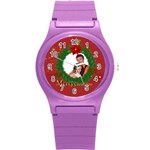 merry christmas, xmas, happy new year  - Round Plastic Sport Watch (S)