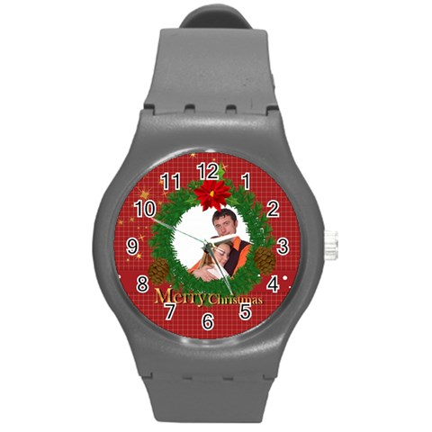Merry Christmas, Xmas, Happy New Year  By Wood Johnson   Round Plastic Sport Watch (m)   Gj6xuvtrsac1   Www Artscow Com Front