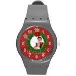 merry christmas, xmas, happy new year  - Round Plastic Sport Watch (M)