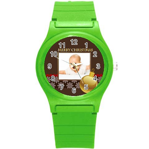 Merry Christmas, Xmas, Happy New Year  By Wood Johnson   Round Plastic Sport Watch (s)   S8w3b5zkwnv0   Www Artscow Com Front