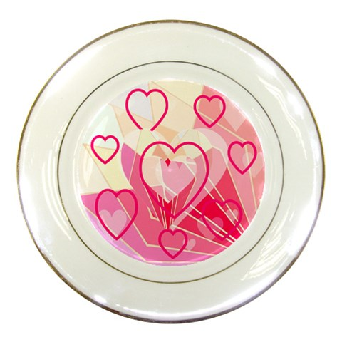 Hearts Plate Pink By Birkie   Porcelain Plate   Rgqur3x1usal   Www Artscow Com Front