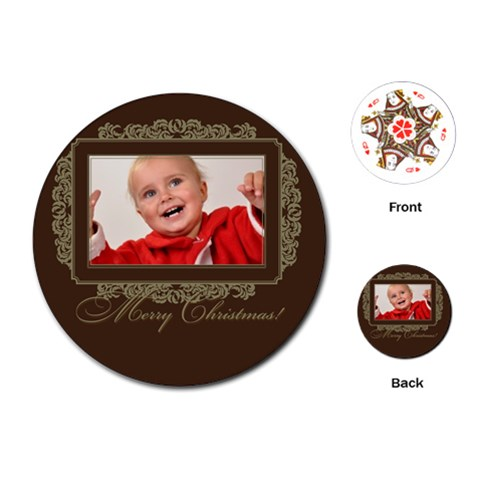 Merry Christmas By Man   Playing Cards (round)   Fzqcri0tqlvv   Www Artscow Com Front