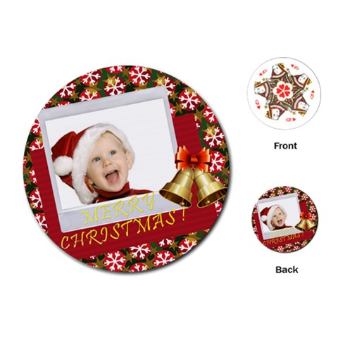 Merry Christmas By Man   Playing Cards (round)   5f829nzk1pud   Www Artscow Com Front