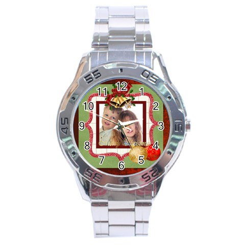 Merry Christmas By Jo Jo   Stainless Steel Analogue Watch   2thhfl48jdc3   Www Artscow Com Front