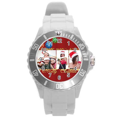 Merry Christmas By M Jan   Round Plastic Sport Watch (l)   Qwl8k19od79l   Www Artscow Com Front