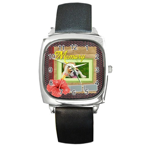 Merry Christmas By M Jan   Square Metal Watch   4wdw4ca94f24   Www Artscow Com Front