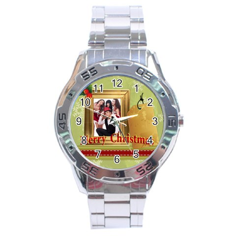 Merry Christmas By Clince   Stainless Steel Analogue Watch   Yt0i7qnhaswi   Www Artscow Com Front