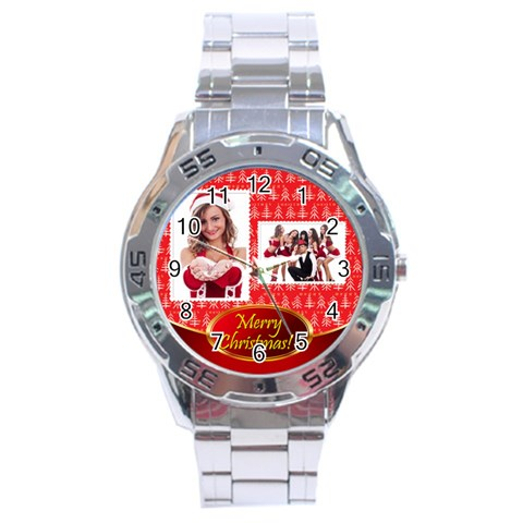 Merry Christmas By Clince   Stainless Steel Analogue Watch   Kcof5xffku1p   Www Artscow Com Front