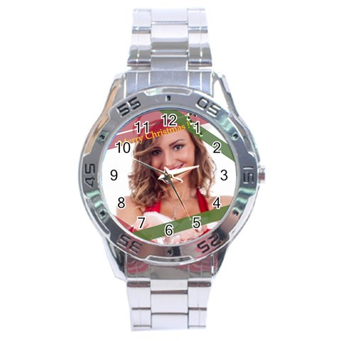Merry Christmas By Clince   Stainless Steel Analogue Watch   0a3dzh3vurk7   Www Artscow Com Front
