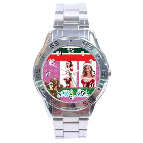 Merry Christmas By Clince   Stainless Steel Analogue Watch   46c5j6meocrk   Www Artscow Com Front