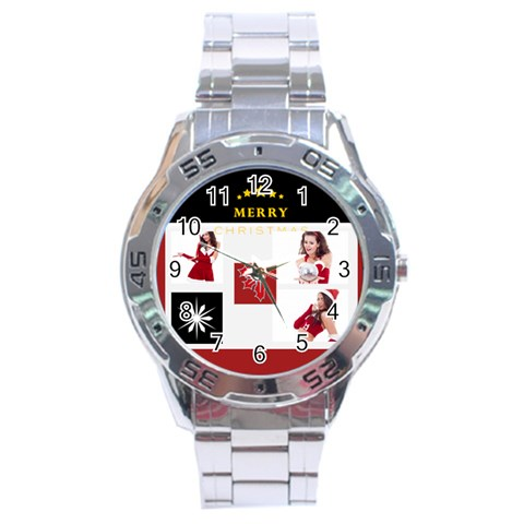 Merry Christmas By Clince   Stainless Steel Analogue Watch   Pina0vsh93o8   Www Artscow Com Front