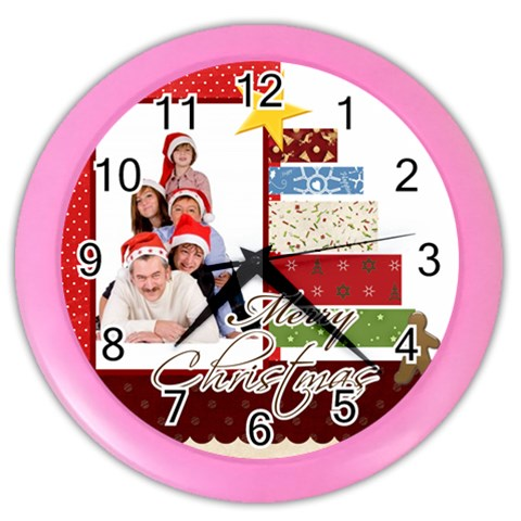 Merry Christmas By Betty   Color Wall Clock   Yswi2kekznc3   Www Artscow Com Front