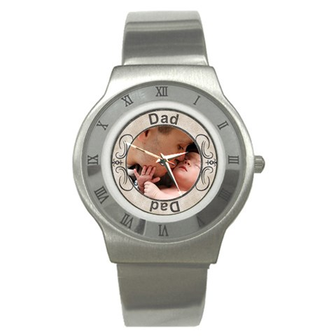 Dad Stainless Steel Watch By Lil    Stainless Steel Watch   19ruyowqincb   Www Artscow Com Front