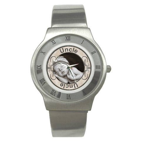 Uncle Stainless Steel Watch By Lil    Stainless Steel Watch   C55qv33lpo2u   Www Artscow Com Front
