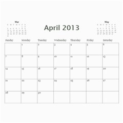 Pats Calander By Tracy   Wall Calendar 11  X 8 5  (12 Months)   Eqgrqxk880fv   Www Artscow Com Apr 2013