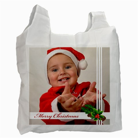 Merry Christmas By Man   Recycle Bag (one Side)   9avuktbs49zc   Www Artscow Com Front