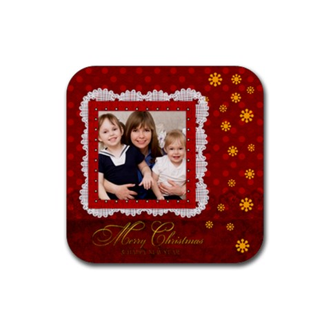 Merry Christmas By Joely   Rubber Coaster (square)   0g1lmnxzie8v   Www Artscow Com Front