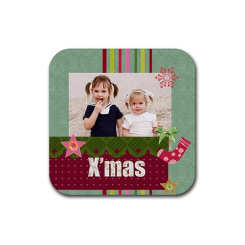 Merry Christmas By Joely   Rubber Coaster (square)   3fvoi2sw5ebr   Www Artscow Com Front