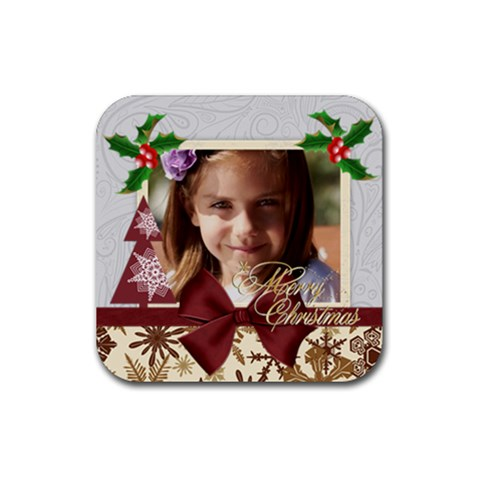 Merry Christmas By Joely   Rubber Coaster (square)   60zaaody8kh1   Www Artscow Com Front