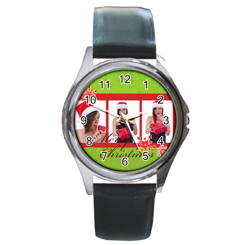 Merry Christmas By M Jan   Round Metal Watch   K2pv9zqe6h0k   Www Artscow Com Front