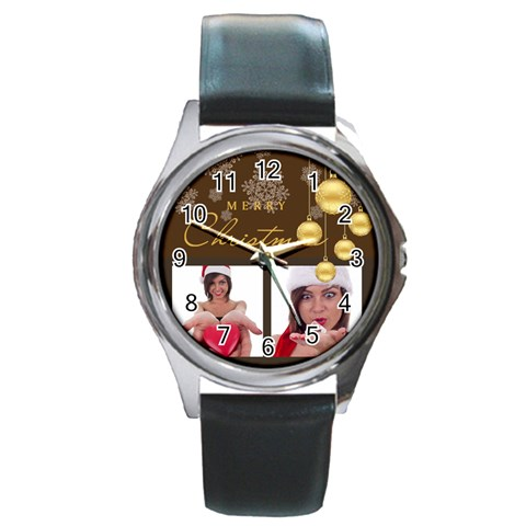 Merry Christmas By M Jan   Round Metal Watch   Qr1xyskg9tl8   Www Artscow Com Front