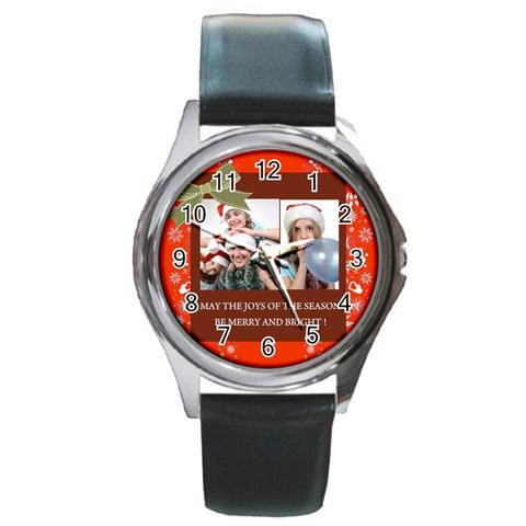 Merry Christmas By M Jan   Round Metal Watch   Ixx5fj6wc53g   Www Artscow Com Front