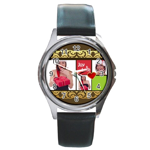 Merry Christmas By M Jan   Round Metal Watch   Nqz6bewju7ug   Www Artscow Com Front
