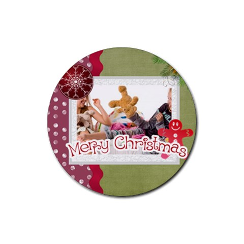 Merry Christmas By Betty   Rubber Coaster (round)   C42u4h55fvyy   Www Artscow Com Front