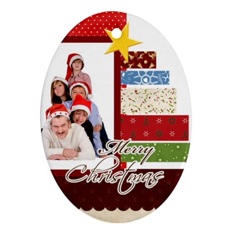 Merry Christmas By Betty   Ornament (oval)   C2hu7urvnzir   Www Artscow Com Front