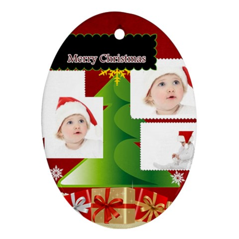 Merry Christmas By Betty   Ornament (oval)   42ni44wt10ur   Www Artscow Com Front