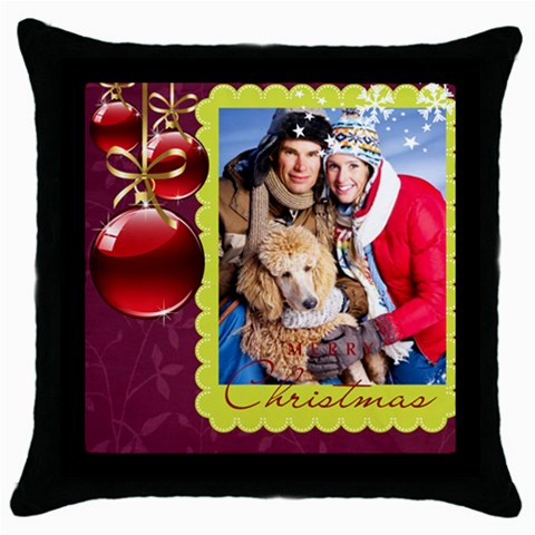 Merry Christmas By Angena Jolin   Throw Pillow Case (black)   Tejbd6mfqms7   Www Artscow Com Front