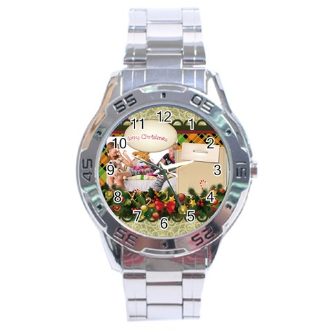 Merry Christmas By Betty   Stainless Steel Analogue Watch   7a8d5a39xi1w   Www Artscow Com Front