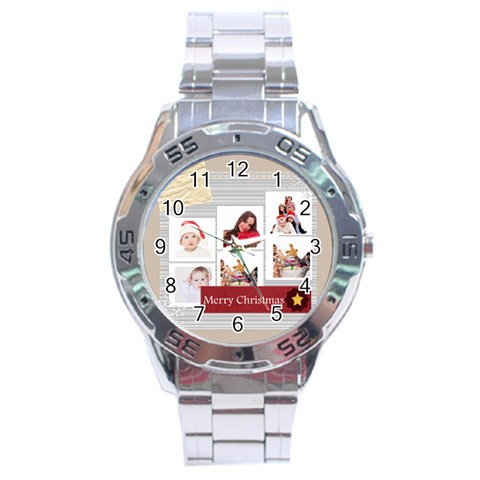 Merry Christmas By Betty   Stainless Steel Analogue Watch   4dcteyzp7sa5   Www Artscow Com Front
