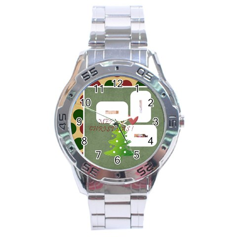 Merry Christmas By Betty   Stainless Steel Analogue Watch   Uw1o7cviwj3c   Www Artscow Com Front