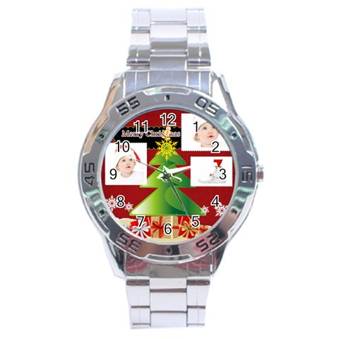 Merry Christmas By Betty   Stainless Steel Analogue Watch   M9nwrhg9wf0n   Www Artscow Com Front